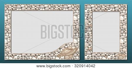 Decorative Photo Frames Template, Vector Set. Frame Border Design With Natural Stone Or Cobble Textu