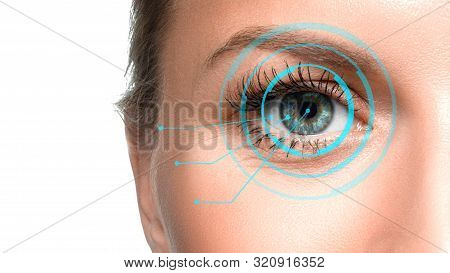 Close Up Photo Of A Woman Eye. Retina Identification Concept.