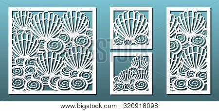 Laser Cut Panels, Vector Set. Template For Metal Cutting Or Wood Carving ,stencil For Fretwork, Pape