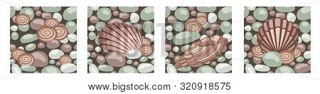 Stone Texture With Seashells, Set Of Seamless Patterns. Cobble, Shingle, Gravel, Shells To Create Ba
