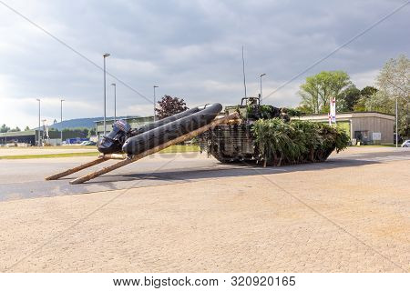 Minden / Germany - September 4, 2019: German Infantry Fighting Vehicle Puma With A Rubber Raft Stand