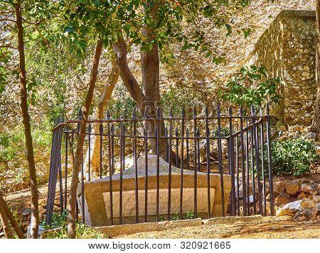 Gibraltar, Uk - June 29, 2019. A Tombstone Of The Trafalgar Cemetery In The British Overseas Territo