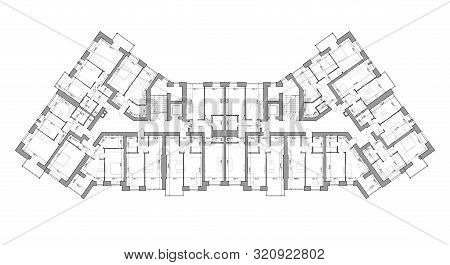 Detailed Architectural Floor Plan, Apartment Layout, Blueprint. Vector Illustration