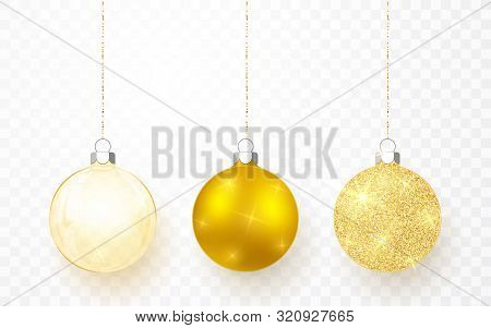 Gold Shiny Glitter Glowing And Transparent Christmas Balls. Xmas Glass Ball On Transparent Backgroun