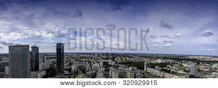 Warsaw, Masovia, Poland - August 14: Panoramic View Of Warsaw On August 14, 2019 In Warsaw, Masovia,