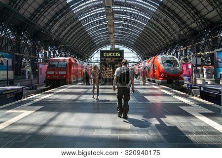 Frankfurt, Germany - July 2019: Db, Deutsch Bahn, Trains And Passengers At Frankfurt Main Train Stat