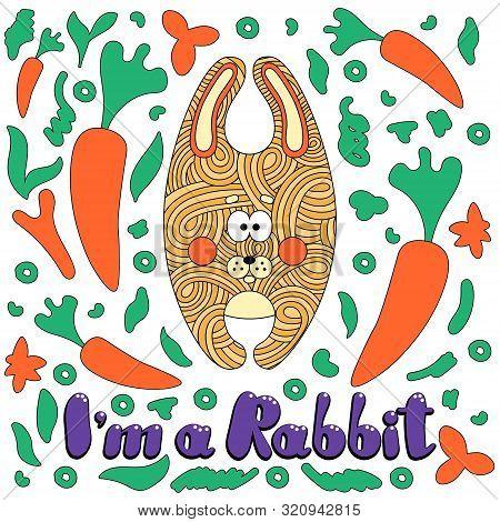 Cute Cartoon Little Rabbit With The Inscription: I Am A Rabbit. Vector Cartoon Style Illustration Of