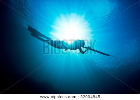Spearfishing Silhouette