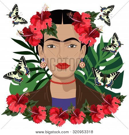 Frida Kahlo Mexican Style Vector Portrait.vector Graphics. Editorial License