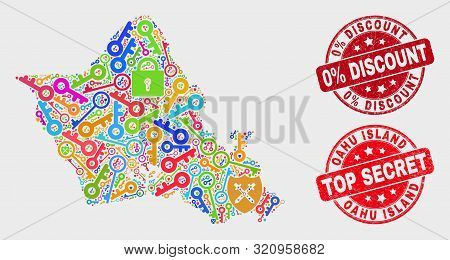 Shield Oahu Island Map And Stamps. Red Rounded Top Secret And 0 Percent Discount Textured Stamps. Co