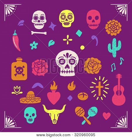 Vintage Day Of The Dead Graphics - Colorful Illustrations For Dia De Los Muertos. Hand Drawn With Vi