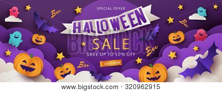 Halloween Sale Promotion Banner With Cutest Pumpkins, Bats And Ghosts In Night Clouds On Violet Back
