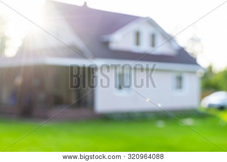Blurred Abstract Background Of Luxury House. House Exterior Theme Creative Abstract Blur Background