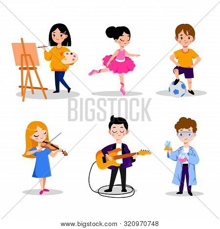Little Kids Hobby And Education, Vector Flat Cartoon Illustration. Boys And Girls Leisure Activities