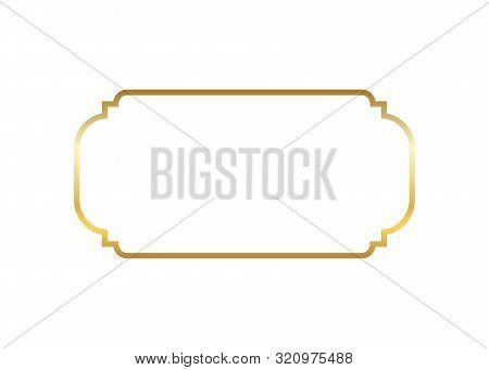 Gold Frame. Beautiful Simple Golden Design. Vintage Style Decorative Border Isolated White Backgroun
