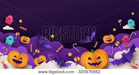 Halloween Background For Party Invitation, Greeting Card, Web Banner Or Sales With Candies In Night