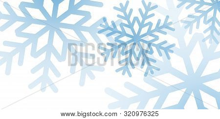 Christmas Winter Background. Christmas Snowflakes. Blue And White Snow Elegant Christmas Background.