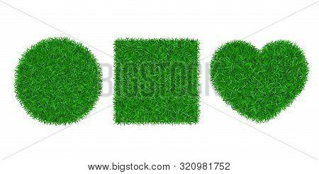 Green Grass Background 3d Set. Lawn Greenery Nature Circle Ball, Heart. Abstract Soccer Field Textur