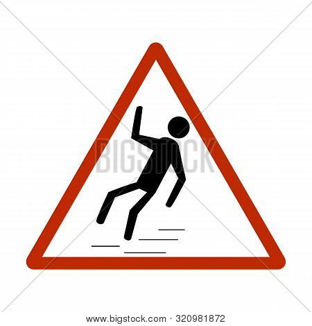 Slippery Sidewalk. Sign Danger On Ice Roadand Wet Sidewalk. Warning Of Danger During Rain And Sleet,