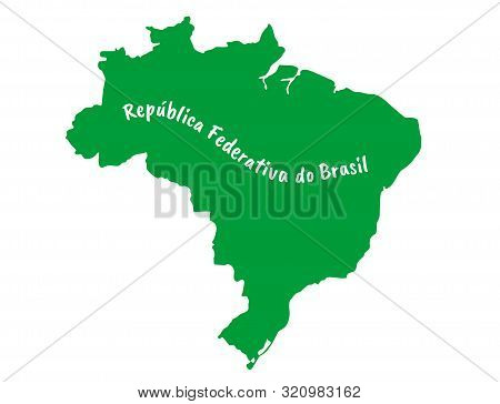 Outlined Federative Republic Of Brazil Map Country Silhouette In National Brasil Flag Color Vector D