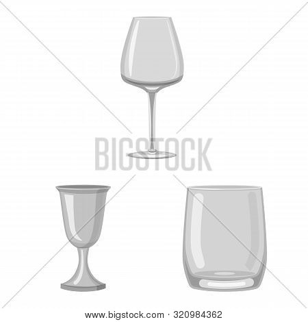 Isolated Object Of Capacity And Glassware Sign. Set Of Capacity And Restaurant Stock Vector Illustra