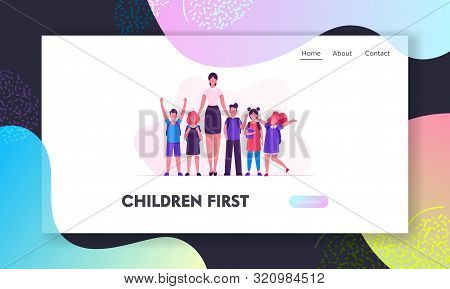 Schoolkids And Pedagogue In Classroom Website Landing Page. School Kids Neatly Lined Up In One Row T