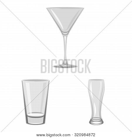 Vector Design Of Capacity And Glassware Sign. Set Of Capacity And Restaurant Stock Symbol For Web.