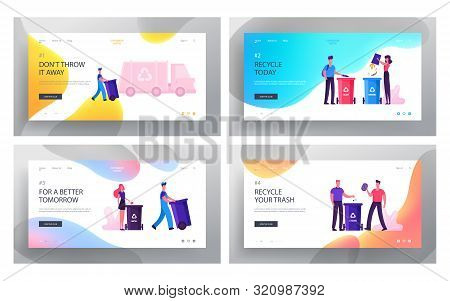 People Sorting Waste Website Landing Page Set. Characters Throw Bags With Garbage To Litter Bins For