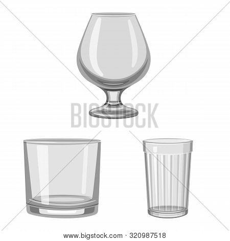 Vector Illustration Of Capacity And Glassware Symbol. Set Of Capacity And Restaurant Stock Symbol Fo