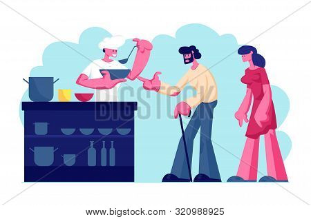 Night Shelter for Homeless, Emergency Housing, Temporary Residence for People, Bums and Beggars Without Home. Poor Man and Woman Stand in Queue for Getting Warm Food. Cartoon Flat Vector Illustration poster
