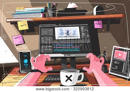 Animator Designer In Creative Process Vector Illustration