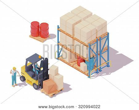Vector Isometric Forklift Loaded With Boxes On Pallet, Forklift Driver And Warehouse Worker, Pallet