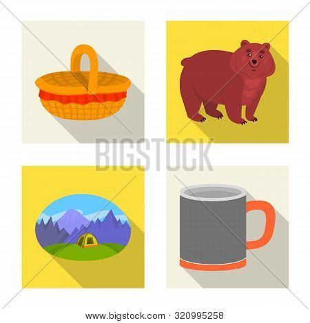 Vector Design Of Cookout And Wildlife Logo. Collection Of Cookout And Rest Vector Icon For Stock.