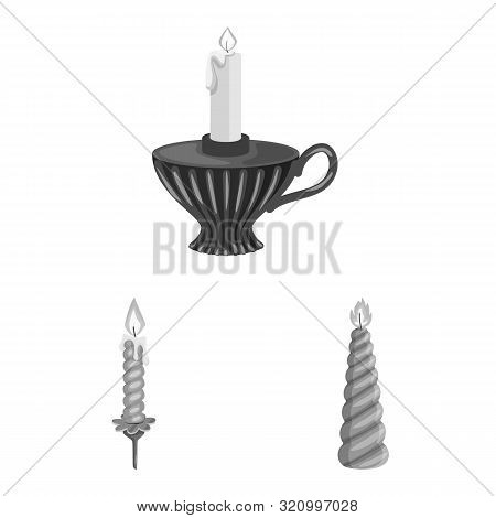 Isolated Object Of Paraffin And Fire Sign. Collection Of Paraffin And Decoration Stock Vector Illust