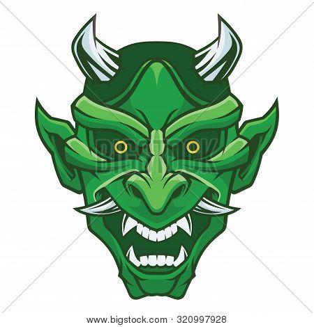 Mask Of Hannya. Demon Mask. Vector Illustration For Use As Print, Poster, Sticker, Logo, Tattoo, Emb