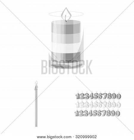 Vector Design Of Paraffin And Fire Sign. Collection Of Paraffin And Decoration Stock Symbol For Web.