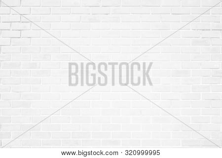 Wall White Brick Wall Texture Background. Brickwork Or Stonework Flooring Interior Rock Old Pattern