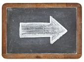 arrow - white chalk drawing on a vintage isolated slate blackboard poster