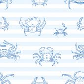 Crayfish vector seamless pattern. Sea animals, marine crabs on striped background. Restaurant seafood menu. Delicacy food, ocean creature with pincers wrapping paper, wallpaper textile design. poster