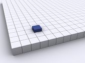 Outstanding blue cube among other white cube - 3d render poster