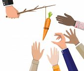 Carrot on a stick in hand. Motivation, stimulus, incentive and reaching goal concept metaphor. Fishing wooden stick with hanging carrot poster