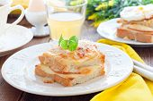 Breakfast with french cheese and ham croc monsieur sandwich, horizontal poster