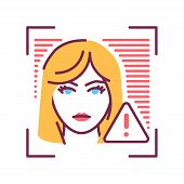 Identification face error line icon. Access denied concept. Violation of personal data protection. Deep face. Biometric security element. Sign for web page, mobile app, banner. poster