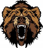 Graphic Mascot Vector Image of a Black Bear Head poster