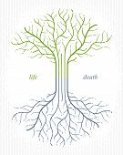 Tree of life, life and death, the cycle of life, vector logo drawing in linear style, classic symbol. poster
