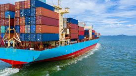 Container Ship Working At Industrial Port, Business Import And Export Logistic And Transportation Of