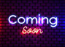 Coming Soon Neon Sign Vector. Coming Soon Design Template Neon Sign, Light Banner, Neon Signboard, N