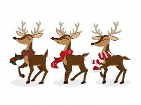 Set Of Reindeer For Christmas Holiday Season. Cute Christmas Holidays Cartoon Character Background.