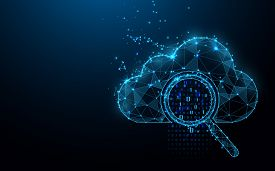 Cloud Online Storage Technology Concept. Big Data Data Information Exchange Available. Magnifying Gl
