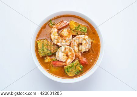 Sour Soup Made Of Tamarind Paste With Shrimps And Vegetable Omelet - Asian Food Style Or Thai Food S